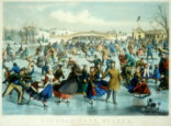 Currier and Ives lithograph of Central Park Christmas